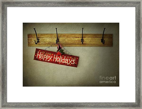 Holiday Sign On Antique Plaster Wall Framed Print