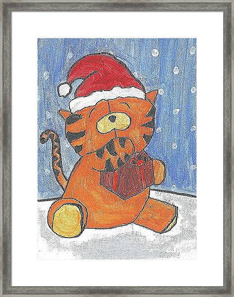 Holiday Tiger Framed Print by Fred Hanna