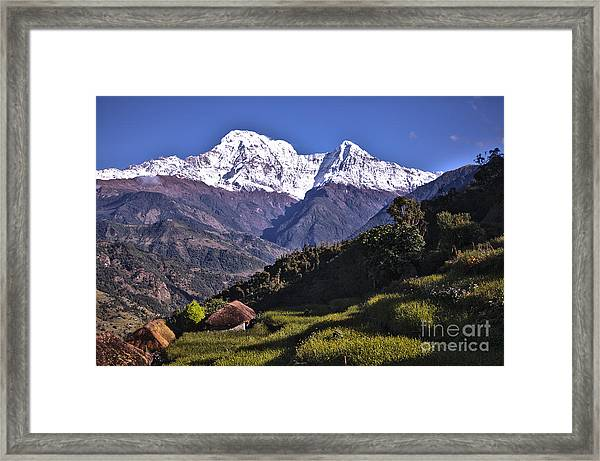 Framed Print featuring the photograph Holy Annapurna South Photo By Artmif Hdr by Raimond Klavins