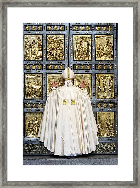 Holy Mass And Opening Of The Holy Door Framed Print by Vatican Pool