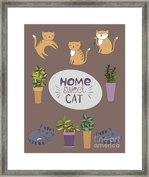 Home Sweet Cat Framed Print