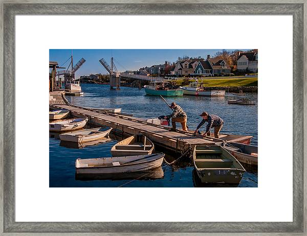Home With The Catch Framed Print