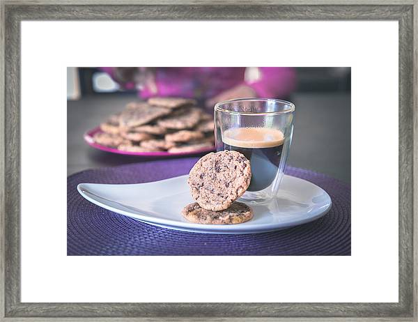 Homemade Chocolate Cookies With A Hot Black Coffee Framed Print by Robin-Angelo Photography