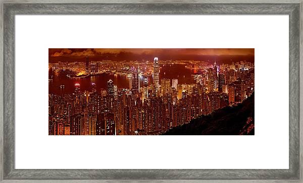 Hong Kong In Golden Brown Framed Print