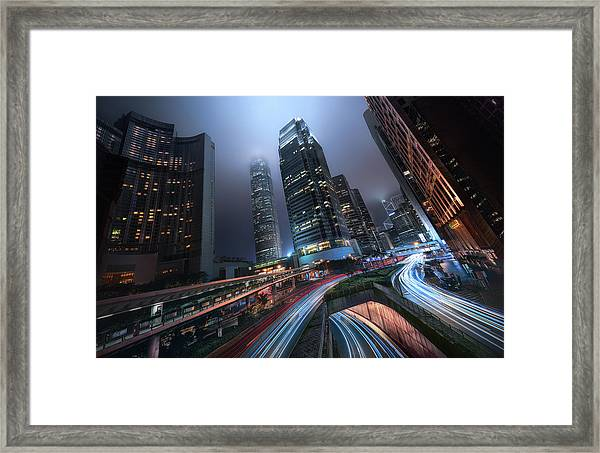 Hong Kong City Lights Framed Print