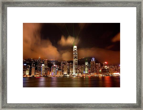 Hong Kong Harbor At Night Lightshow Framed Print by William Perry