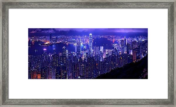 Hong Kong In Purple Framed Print