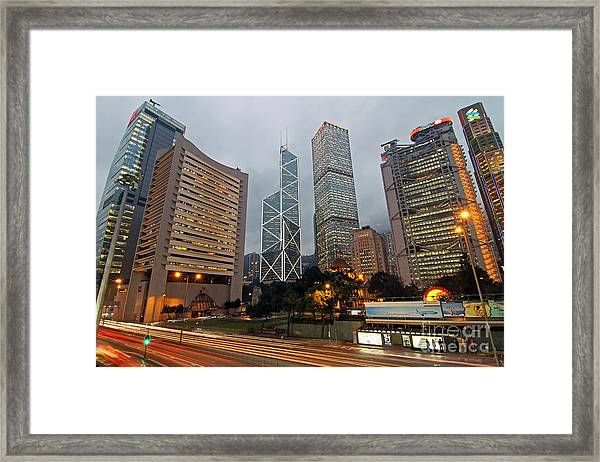 Hong Kong's Financial Center Framed Print by Lars Ruecker