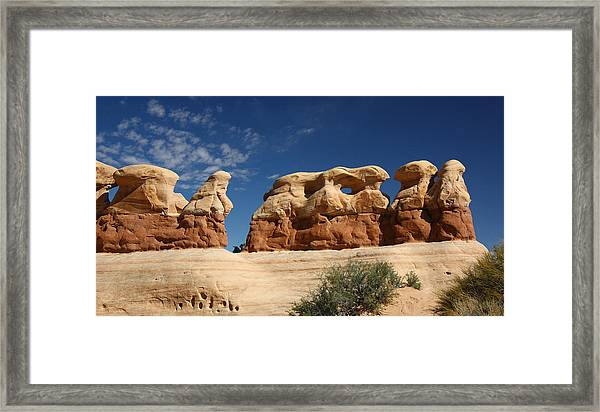 Hoodoos In Devils Garden In Grand Staircase Escalante National Monument Framed Print