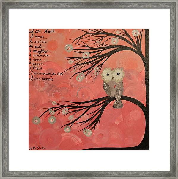 Hoo's Who Care - Find The Cure - Support Breast Cancer Awareness - Hoolandia #383 Framed Print