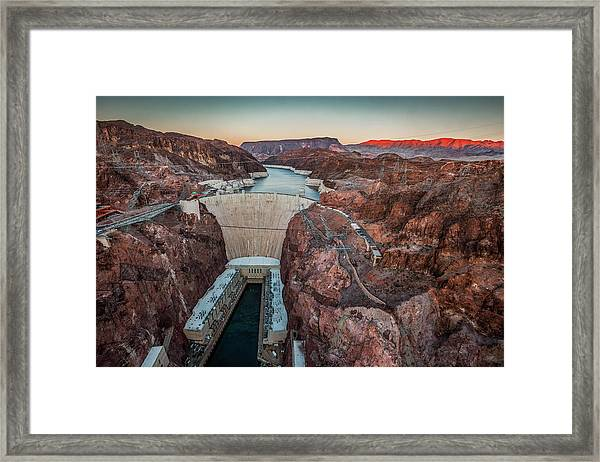 Hoover Dam At Dusk Elevated View Framed Print by Bob Stefko