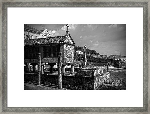 Horreo And Cruceiro In Galicia Bw Framed Print