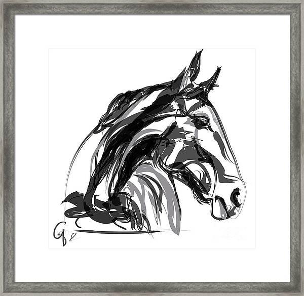 Horse- Apple -digi - Black And White Framed Print