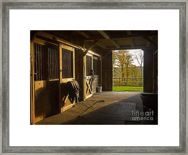 Horse Barn Sunset Framed Print