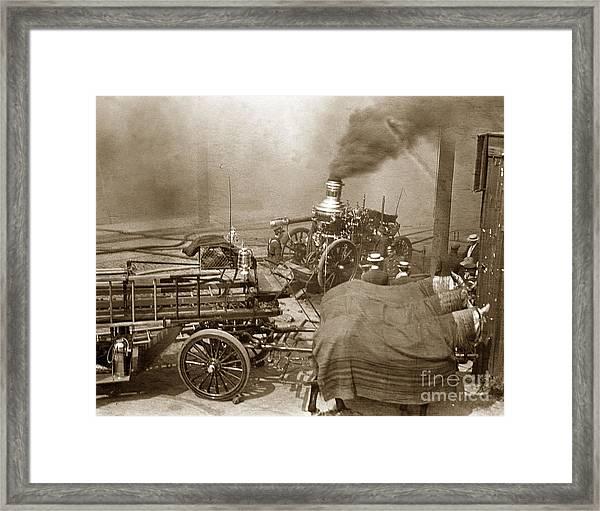 Horse Drawn Water Steam Pumper Fire Truck Circa 1906 Framed Print