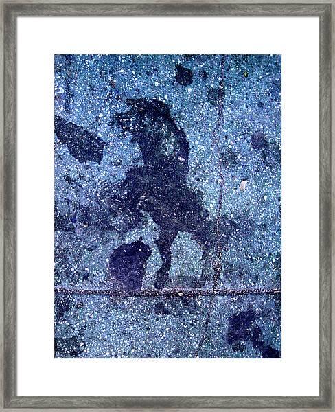Horse Smashing Evil On Skid Row Framed Print