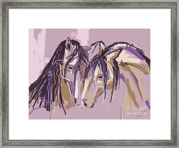 horses Purple pair Framed Print