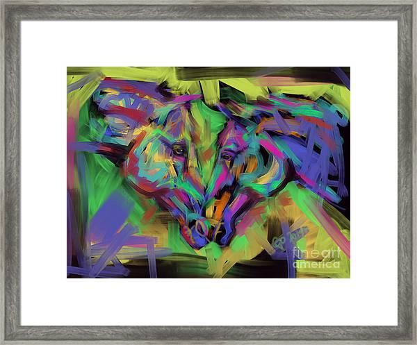 Horses Together In Colour Framed Print