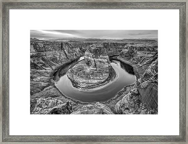 Horseshoe Bend Arizona Black And White Framed Print