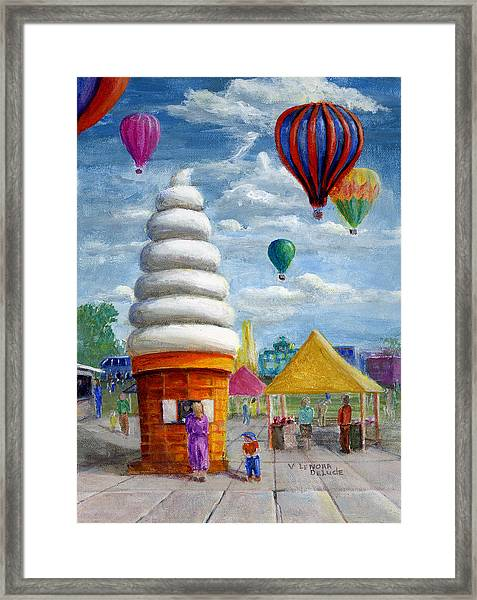 Hot Air Balloon Carnival And Giant Ice Cream Cone Framed Print
