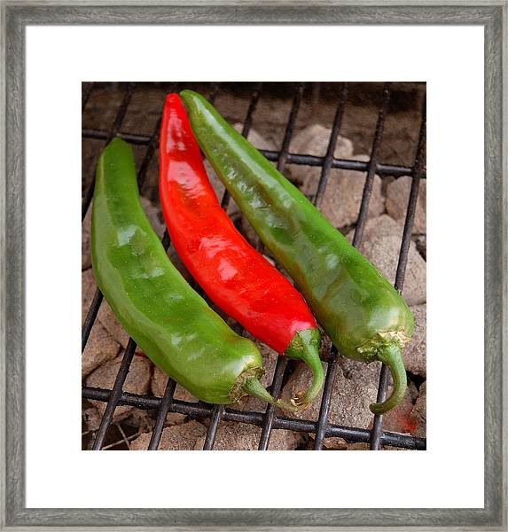 Hot And Spicy - Chiles On The Grill Framed Print