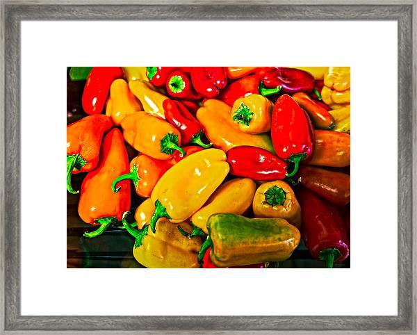 Hot Red Peppers Framed Print