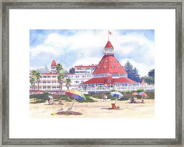 Hotel Del Coronado Beach Framed Print