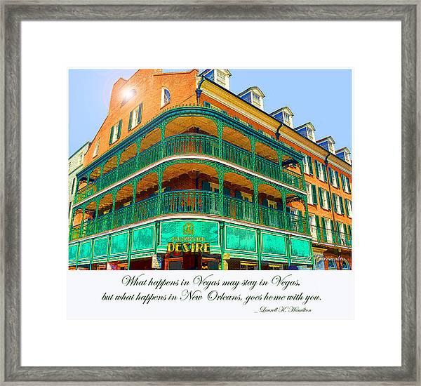 Hotel On Bourbon Street New Orleans Louisiana Framed Print