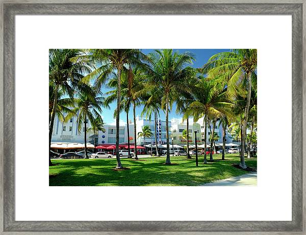 Hotels At Ocean Drive, South Beach Framed Print