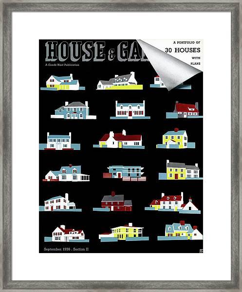 House & Garden Cover Illustration Of 18 Houses Framed Print