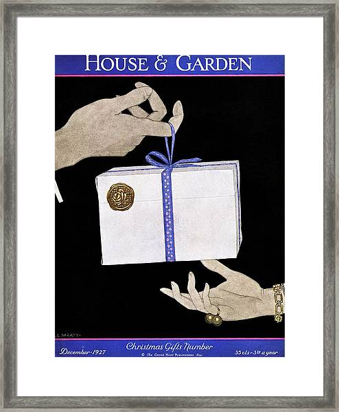 House And Garden Cover Illustration Of A Christmas Framed Print