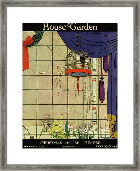 House And Garden Christmas House Number Cover Framed Print