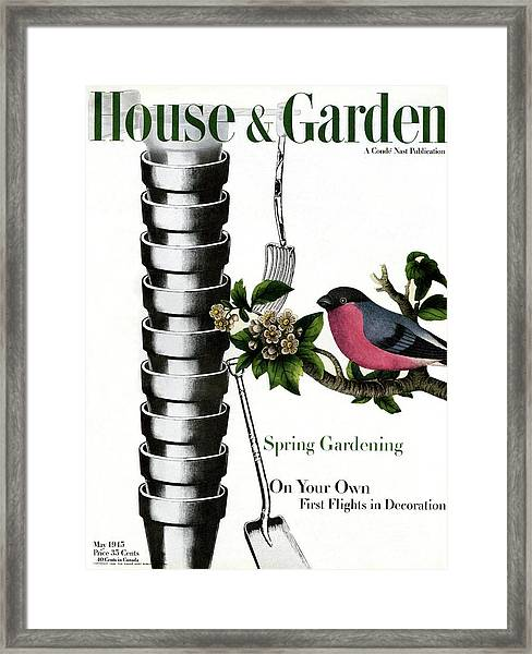 House And Garden Cover Featuring Pots And A Bird Framed Print