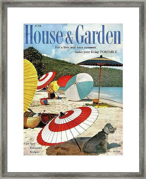 House And Garden Featuring Umbrellas On A Beach Framed Print