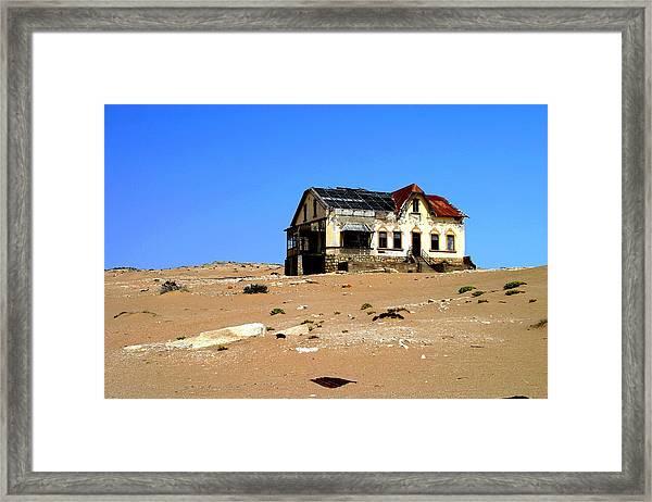 House In The Desert Framed Print by Riana Van Staden
