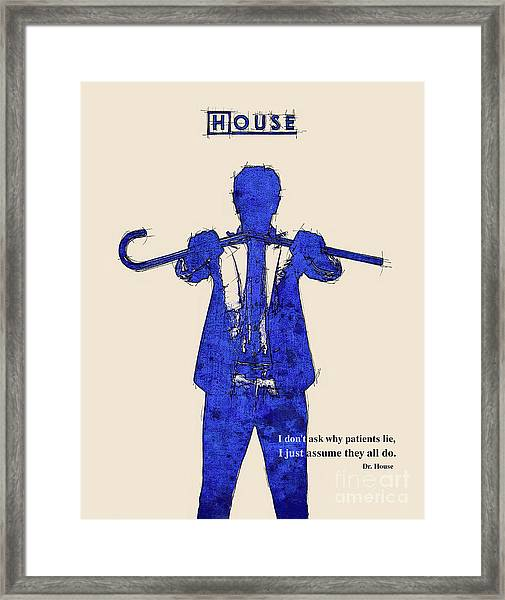 House Md Portrait And Quote Framed Print