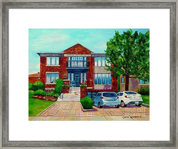 House Portrait-house  Art-commissioned  Montreal Paintings-carole Spandau Framed Print