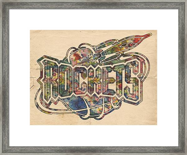 Houston Rockets Retro Poster Framed Print