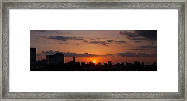 Houston Skyline At Sunset Framed Print