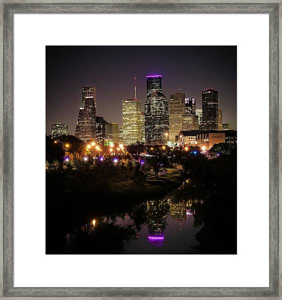 Houston Skyline From Buffalo Bayou Framed Print