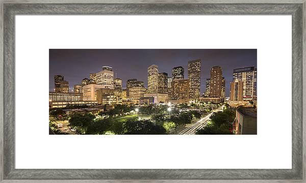 Houston Texas Skyline Panorama Framed Print by Pgiam