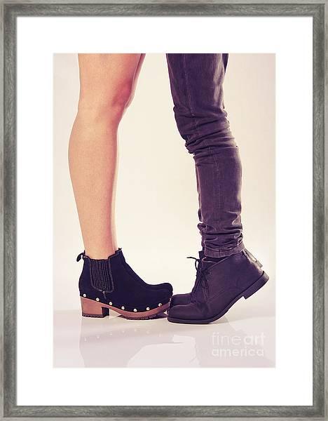 How To Kiss A Tall Girl Framed Print