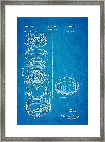 Hull Spinning Reel Patent Art 1969 Blueprint Framed Print
