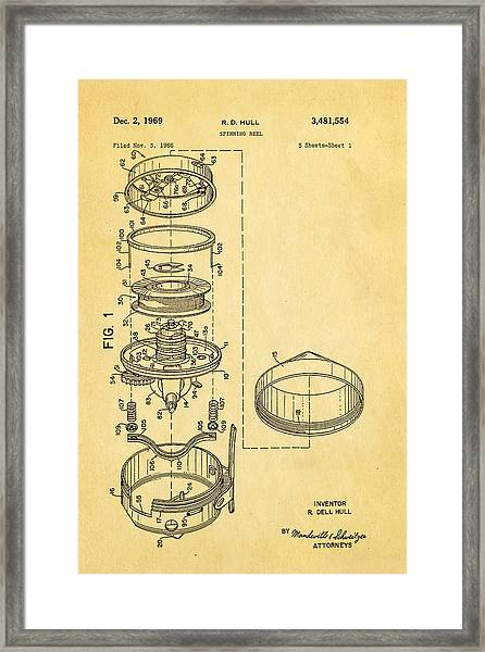 Hull Spinning Reel Patent Art 1969 Framed Print