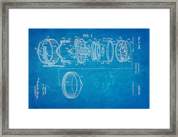 Hull Spinning Reel Patent Art 2 1969 Blueprint Framed Print