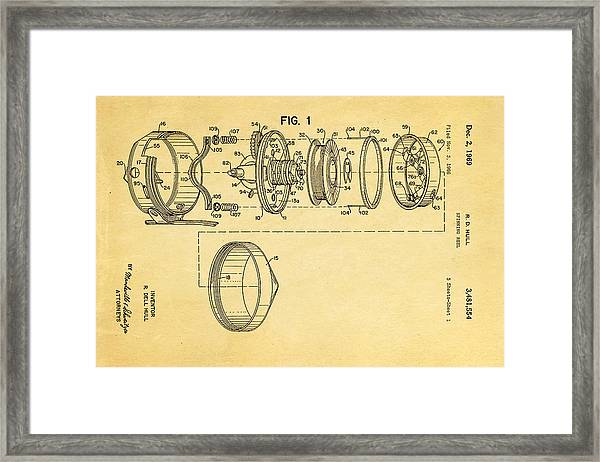 Hull Spinning Reel Patent Art 2 1969  Framed Print