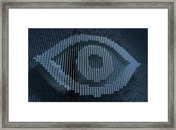 Human Eye In Three Dimensional Binary Framed Print