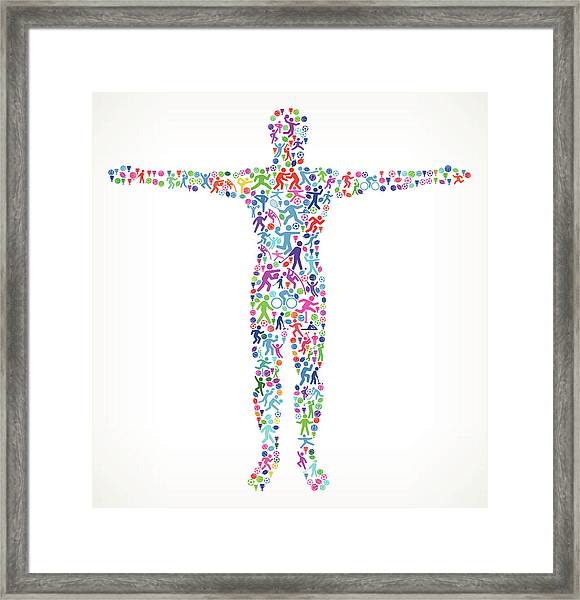 Human Stretching Hands  Fitness Sports Framed Print