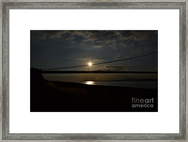 Framed Print featuring the photograph Humber Bridge Sunset by Scott Lyons