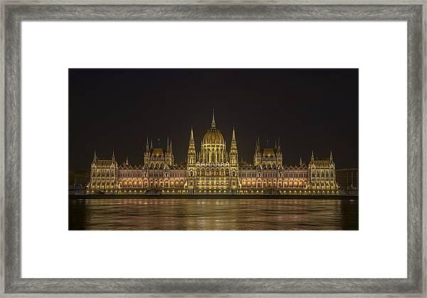 Hungarian Parliament Building Night Framed Print